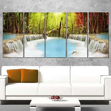 Huai Mae Kamin Waterfall Photography Metal Wall Art, 60x28, 5 Panels, (MT6486-401)
