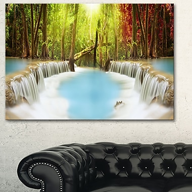 Huai Mae Kamin Waterfall Photography Metal Wall Art,28x12, (MT6486-28-12)