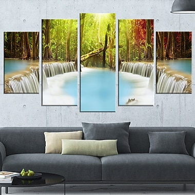 Huai Mae Kamin Waterfall Photography Metal Wall Art, 60x32, 5 Panels, (MT6486-373)