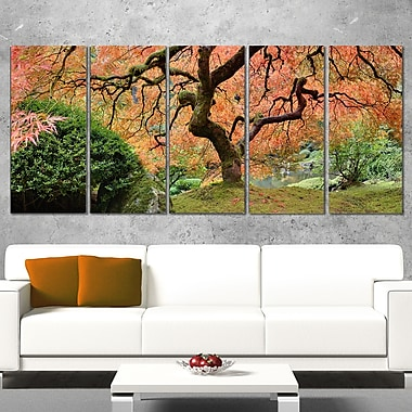 Old Japanese Maple Tree Landscape Metal Wall Art, 60x28, 5 Panels, (MT6488-401)
