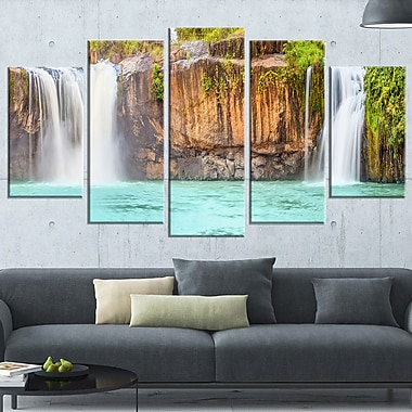 Dry Sap Waterfall Photography Metal Wall Art, 60x32, 5 Panels, (MT6490-373)