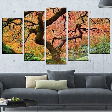 Autumn Maple Tree Landscape Photography Metal Wall Art, 60x32, 5 Panels, (MT6493-373)