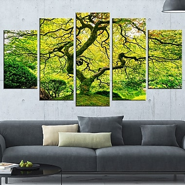 Amazing Green Tree Photography Metal Wall Art, 60x32, 5 Panels, (MT6494-373)