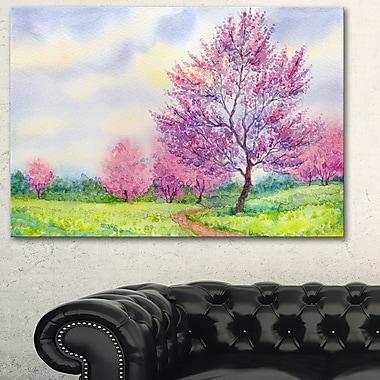 Paysage printemps violet floral art mural en métal, 28 x 12 (MT6498-28-12)