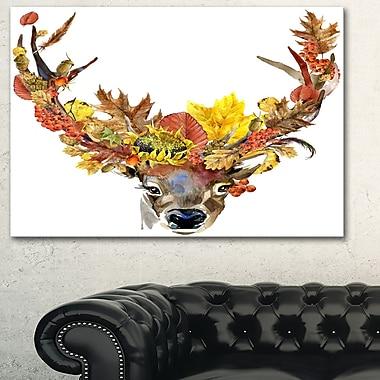 Chevreuil avec fleurs art numérique, floral, art mural en métal, 28 x 12 (MT6499-28-12)