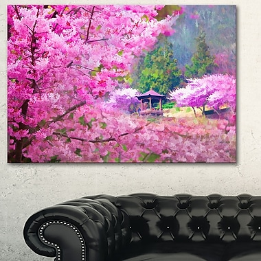 Japanese Cherry Flowers Floral Metal Wall Art, 28x12, (MT6500-28-12)
