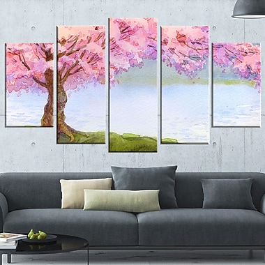 Flowering Pink Tree by Lake Floral Metal Wall Art, 60x32, 5 Panels, (MT6504-373)