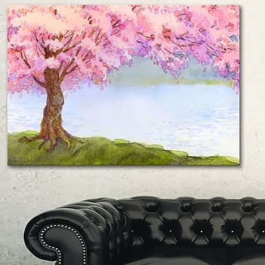 Flowering Pink Tree by Lake Floral Metal Wall Art, 28x12, (MT6504-28-12)
