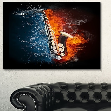 Saxophone Music Photography Metal Wall Art, 28x12, (MT6508-28-12)