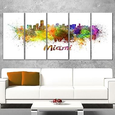 Miami Skyline Cityscape Metal Wall Art, 60x28, 5 Panels, (MT6509-401)
