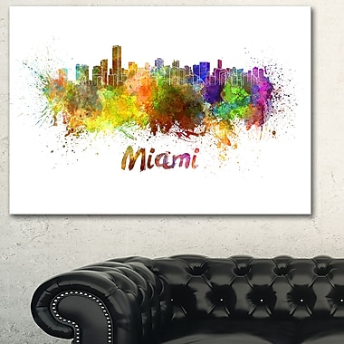 Miami Skyline Cityscape Metal Wall Art, 28x12, (MT6509-28-12)
