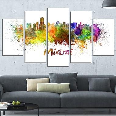 Art mural en métal, paysage urbain, ligne d'horizon Miami, 60 x 32, 5 panneaux (MT6509-373)