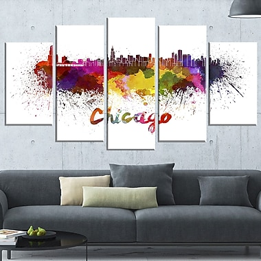 Chicago Skyline Cityscape Metal Wall Art, 60x32, 5 Panels, (MT6510-373)