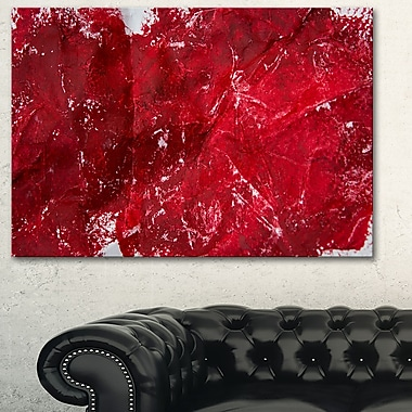 Art mural en métal, texture rouge, art abstrait, 28 x 12 (MT6514-28-12)