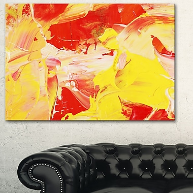 Yellow and Red Abstract Art, Abstract Metal Wall Art, 28x12, (MT6516-28-12)