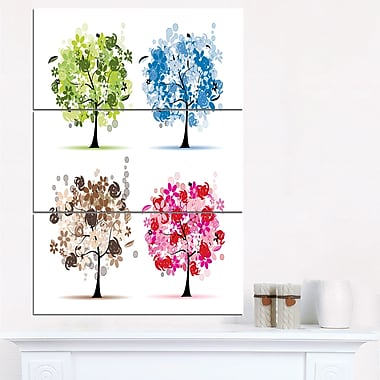 Set of Floral Trees Floral Metal Wall Art, 28x36, 3 Panels, (MT6521-28-36)