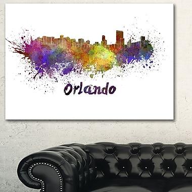 Art mural en métal, paysage, horizon urbain d'Orlando, 28 x 12 po (MT6522-28-12)