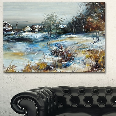 Village in Winter Landscape Metal Wall Art, 28x12, (MT6523-28-12)