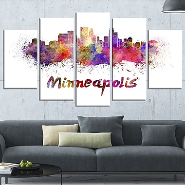 Minneapolis Skyline Cityscape Metal Wall Art, 60x32, 5 Panels, (MT6524-373)