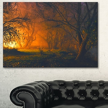Magical Light in Forest Landscape Metal Wall Art, 28x12, (MT6525-28-12)