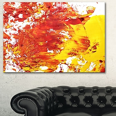 Textured Red and Yellow Art, Abstract Metal Wall Art, 28x12, (MT6527-28-12)