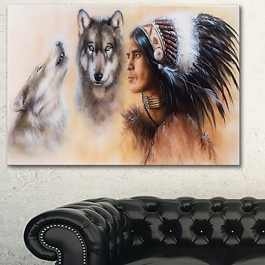 Indian Warrior with Two Wolves Animal Metal Wall Art, 28x12, (MT6539-28-12)