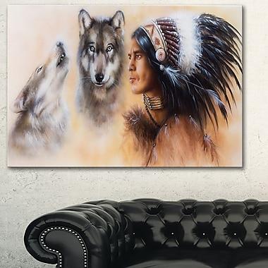 Art mural en métal, guerrier indien avec deux loups, 28 x 12 (MT6539-28-12)