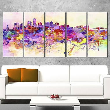 Purple New York Skyline Cityscape Metal Wall Art, 60x28, 5 Panels, (MT6540-401)