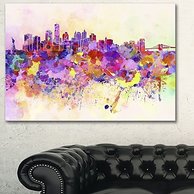 Purple New York Skyline Cityscape Metal Wall Art, 28x12, (MT6540-28-12)