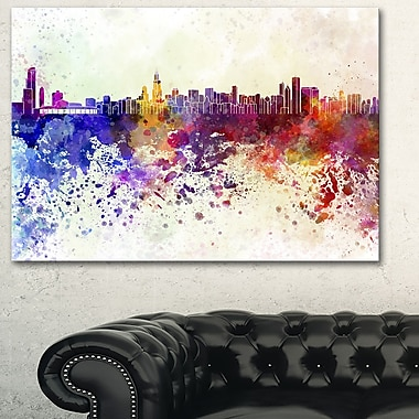 Chicago Skyline Cityscape Metal Wall Art, 28x12, (MT6542-28-12)