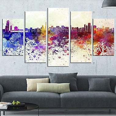 Chicago Skyline Cityscape Metal Wall Art, 60x32, 5 Panels, (MT6542-373)