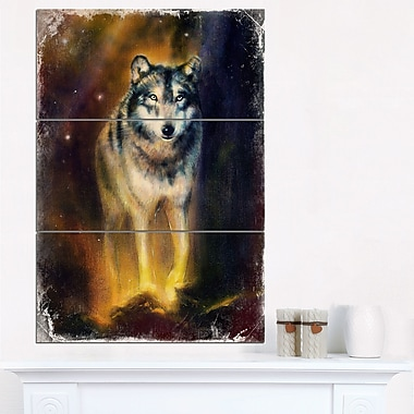 Calm Wolf Illustration Animal Metal Wall Art, 28x36, 3 Panels, (MT6543-28-36)