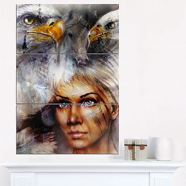 Woman with Flying Eagles Portrait Metal Wall Art, 28x36, 3 Panels, (MT6544-28-36)