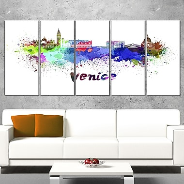 Venice Skyline Cityscape Metal Wall Art, 60x28, 5 Panels, (MT6545-401)