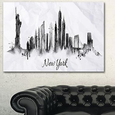 Art mural en métal, paysage urbain, silhouette de New York à l'encre, 28 x 12 (MT6546-28-12)