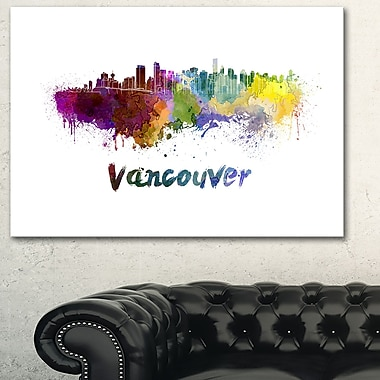 Vancouver Skyline Cityscape Metal Wall Art, 28x12, (MT6547-28-12)