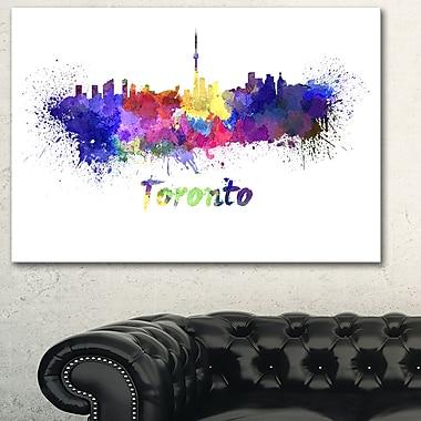 Art mural en métal, paysage urbain, ligne d'horizon de Toronto, 28 x12 (MT6549-28-12)