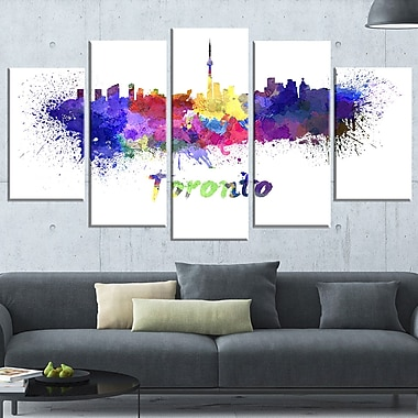 Art mural en métal, paysage urbain, ligne d'horizon de Toronto, 60 x 32, 5 panneaux (MT6549-373)