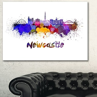 Newcastle Skyline Cityscape Metal Wall Art, 28x12, (MT6550-28-12)