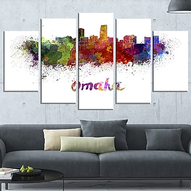Omaha Skyline Cityscape Metal Wall Art, 60x32, 5 Panels, (MT6552-373)