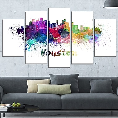 Houston Skyline Cityscape Metal Wall Art, 60x32, 5 Panels, (MT6555-373)
