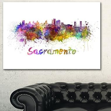 Sacramento Skyline Cityscape Metal Wall Art, 28x12, (MT6558-28-12)