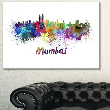 Mumbai Skyline Cityscape Metal Wall Art, 28x12, (MT6559-28-12)