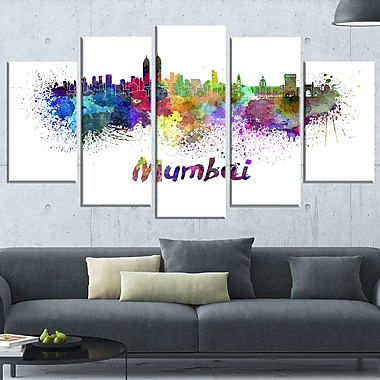 Mumbai Skyline Cityscape Metal Wall Art, 60x32, 5 Panels, (MT6559-373)