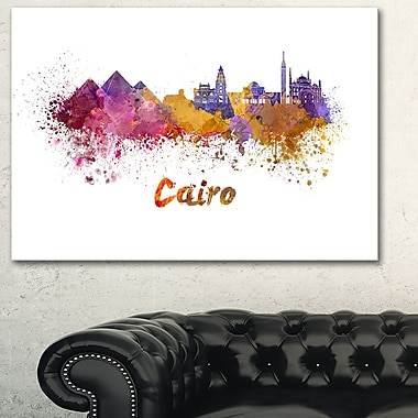 Art mural en métal, paysage urbain, ligne d'horizon du Caire, 28 x 12 (MT6560-28-12)