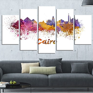 Art mural en métal, paysage urbain, ligne d'horizon du Caire, 60 x 32, 5 panneaux (MT6560-373)