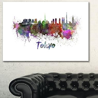 Art mural en métal, paysage urbain, ligne d'horizon de Tokyo, 28 x 12 (MT6562-28-12)