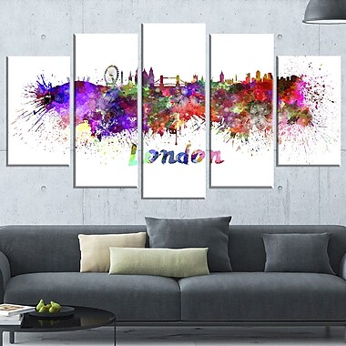 London Skyline Cityscape Metal Wall Art, 60x32, 5 Panels, (MT6563-373)