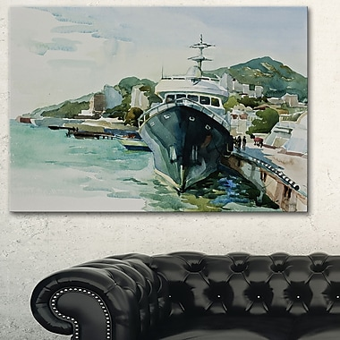 Yacht in Port Yalta Landscape Metal Wall Art, 28x12, (MT6565-28-12)