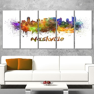 Las Vegas Skyline Cityscape Metal Wall Art, 60x28, 5 Panels, (MT6567-401)